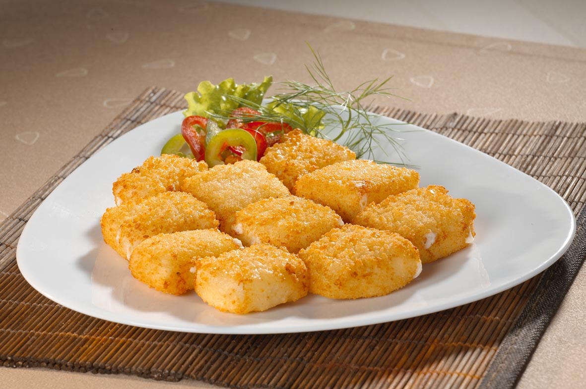 Breaded white cheese