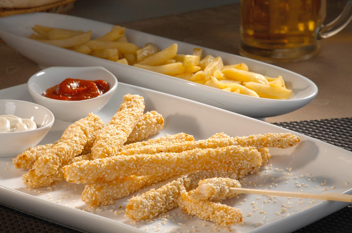 Chicken sticks with sesame breading