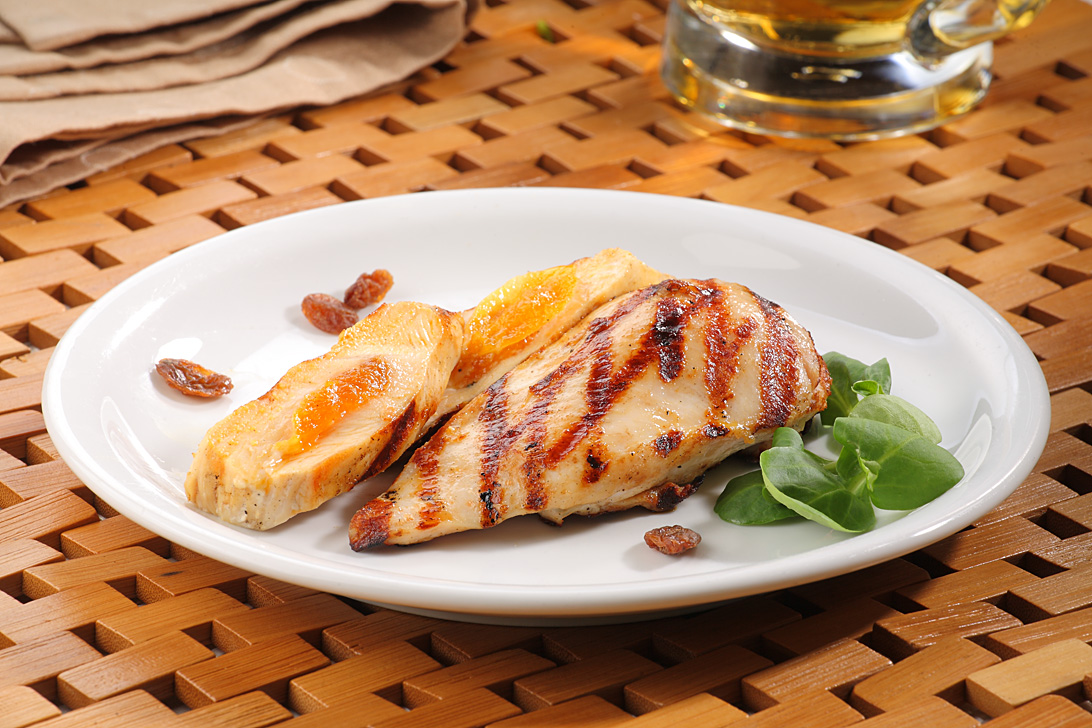 Chicken fillet with natural cheese and apricots
