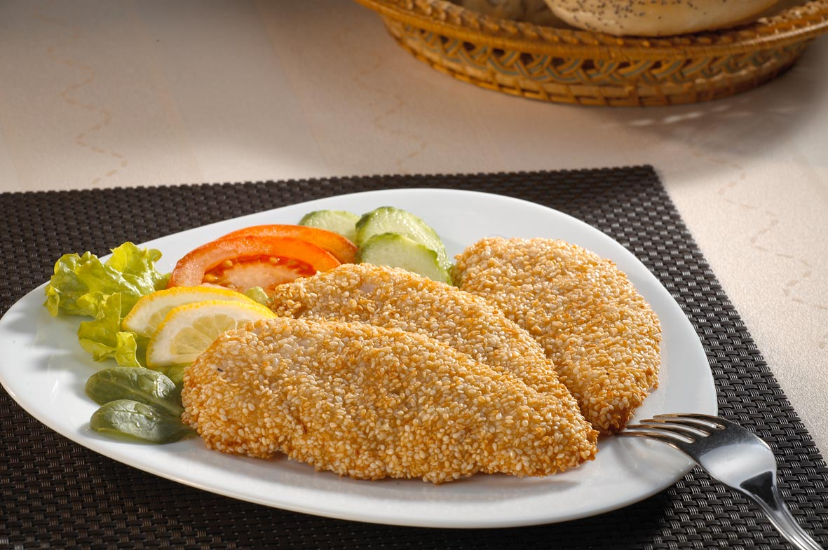 Crispy chicken tenders with sesame breading
